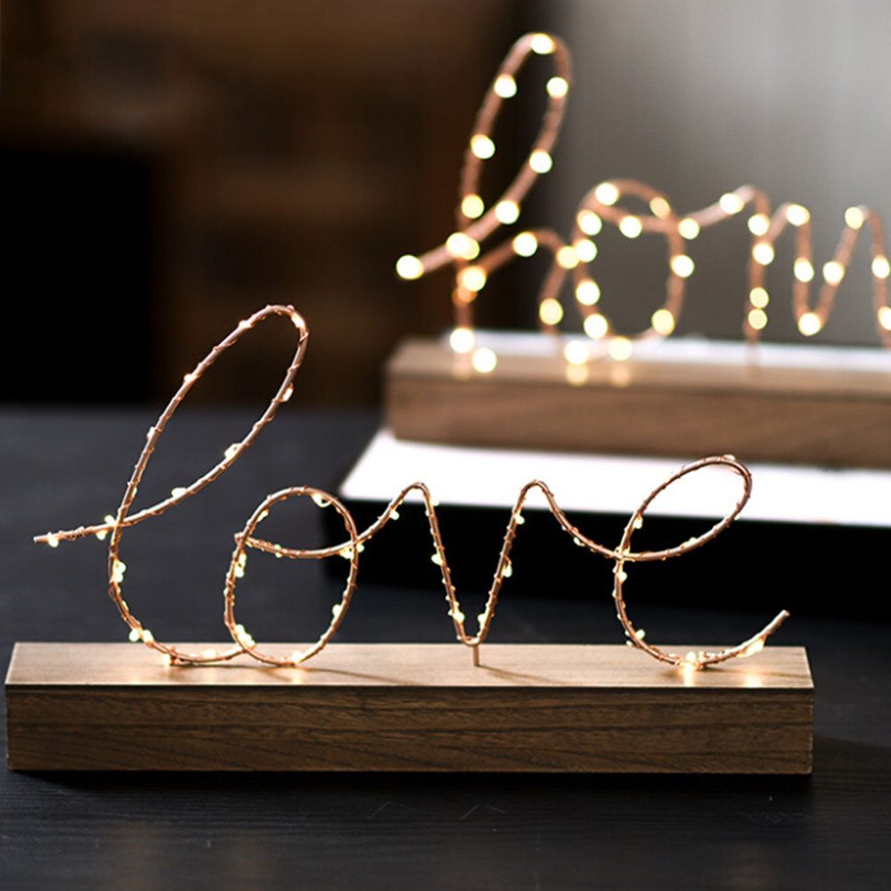 Home Decor Wooden Base Iron LOVE Letters Home Decorative Figurines LED Lamp Light Bedroom Layout Decor Illumination Table Lamp