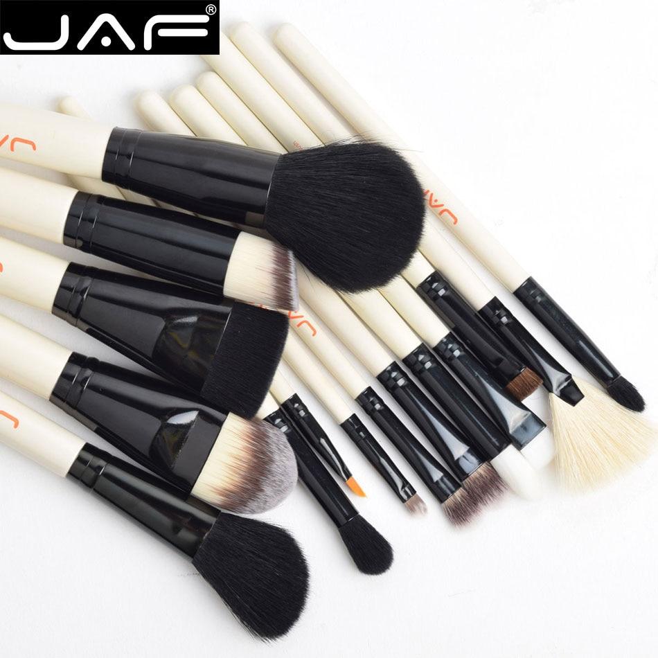 JAF Pro 15Pcs Portable Makeup Brushes Set Soft Eye Lip Care Foundation Contour Eyeshadow Liquid Cream Powder Cosmetic Brush Kits cosmetic 5 pcs portable nylon eye makeup brushes set