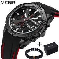 MEGIR Military Watch Men Luxury Brand Men's Fashion Silicone Sport Watches Boys Chronograph Quartz Wrist Watch Relogio Masculino