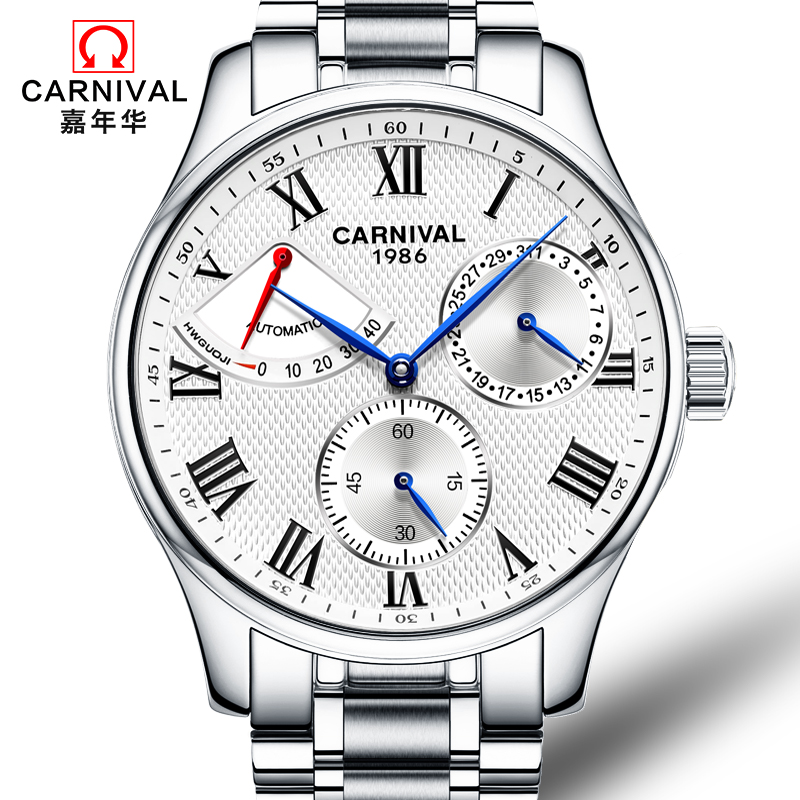 Carnival Busines Automatic Watch Men Full Steel Mechanical Watches Waterproof Wristwatch Coated Glass Clock relogio masculino