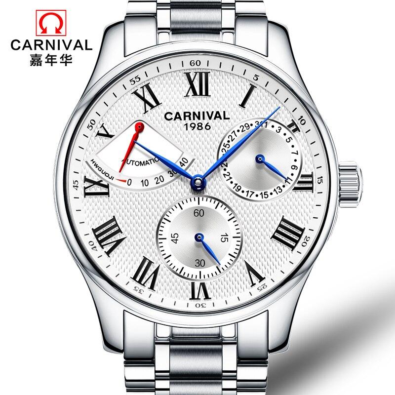 Karneval Busines Automatische Uhr Männer Voller Stahl Mechanische Uhren Wasserdichte Armbanduhr Beschichtet Glas Uhr relogio masculino-in Mechanische Uhren aus Uhren bei  Gruppe 1