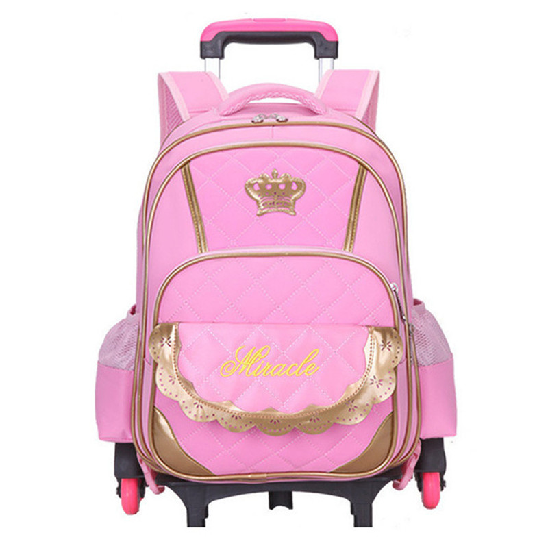 Hot Sale Trolley Backpack Girls Wheeled School Bag Children Travel Luggage Suitcase On Wheels Kids Rolling Book Bag universal uheels trolley travel suitcase double shoulder backpack bag with rolling multilayer school bag commercial luggage