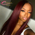 1B Burgundy Ombre Straight Human Hair Lace Front Wigs Brazilian Virgin Hair Ombre Red Color Glueless Full Lace Wigs For Women