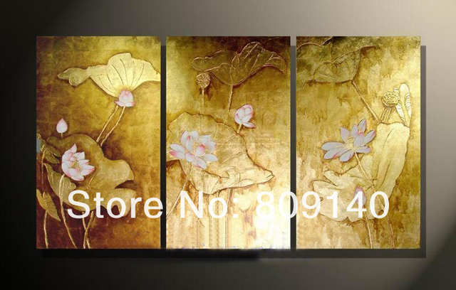 Free Shipping Lotus Flower oil painting Golden Foil canva Artwork ...