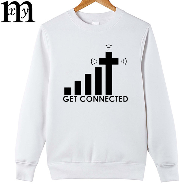 Fashion Get Connected To Jesus Hoodies Design Fashion Creative Pattern Hoodies  Casual Novelty Funny Men Plus Size