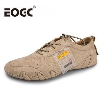 Oryginalne skórzane męskie obuwie dla mężczyzn moda cztery S płaskie buty męskie buty wygodne męskie buty do chodzenia skórzane duże rozmiary 46 tanie i dobre opinie EOGC Prawdziwej skóry Skóra bydlęca RUBBER men leather shoes Gumką Pasuje prawda na wymiar weź swój normalny rozmiar
