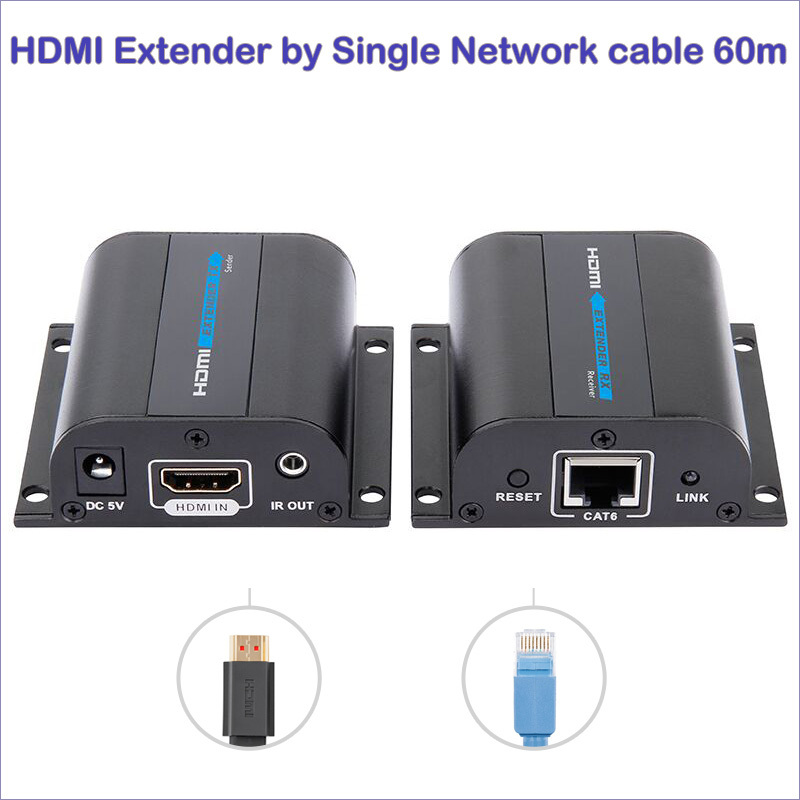 цена New HDMI Extender over Cat 6 hdmi extender ir hdmi lan extender Converter up to 60m mountable hdmi adapter free shipping