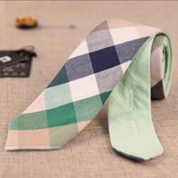 Checked Tie Green 2015 Marcas Mens Tie Double-Faced 100% Cotton Ties For Man Dress Plaid Gravatas Masculinas Checked Tie Green