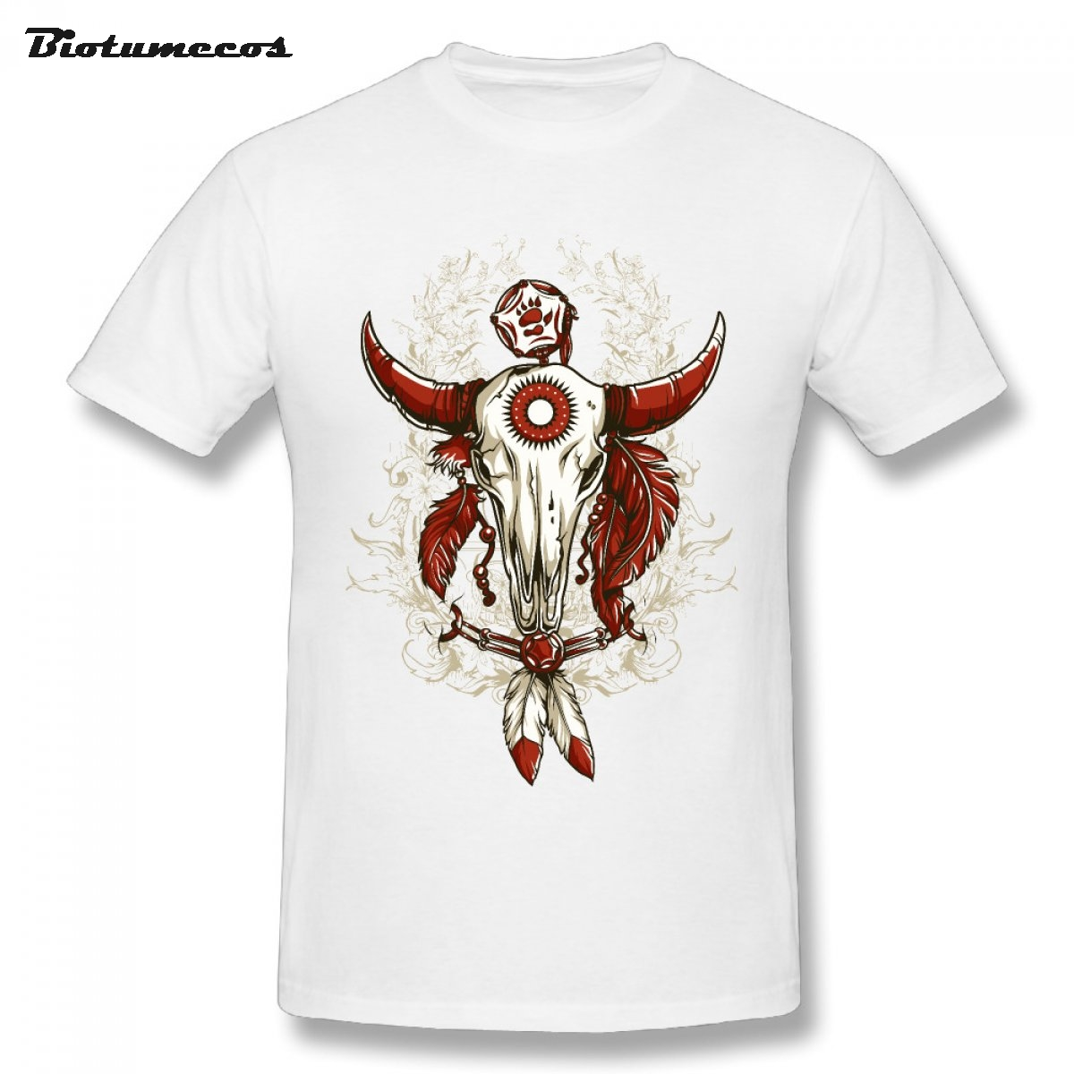 664aa1c89a156 Summer Men T shirt Goat Skull Tied With Shackle Red Horns Printed Short  Sleeve O-neck 100% Cotton Tees Shirt Top Clothing MTK151