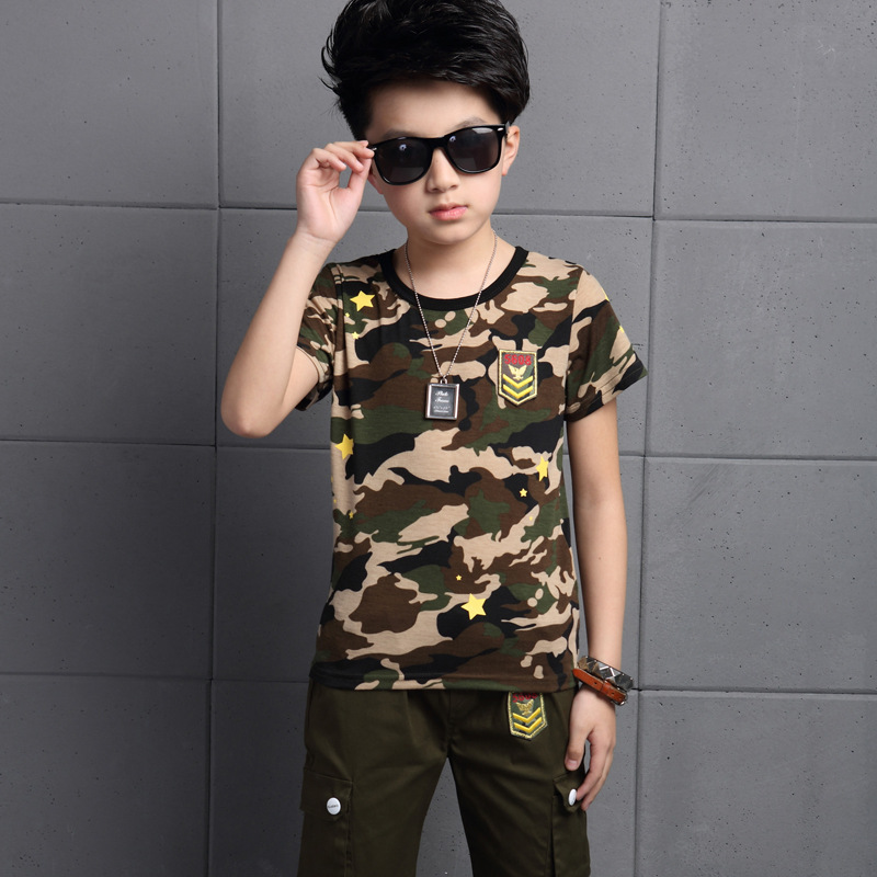2017 Summer Kids Boys Camouflage Print T Shirts + Pants Set Children Short Sleeve Boys Clothing Sets Kids Boy Sport Suit 13 14 T 2016 kids summer boys short suit children sportswear big boy two sets of tee set