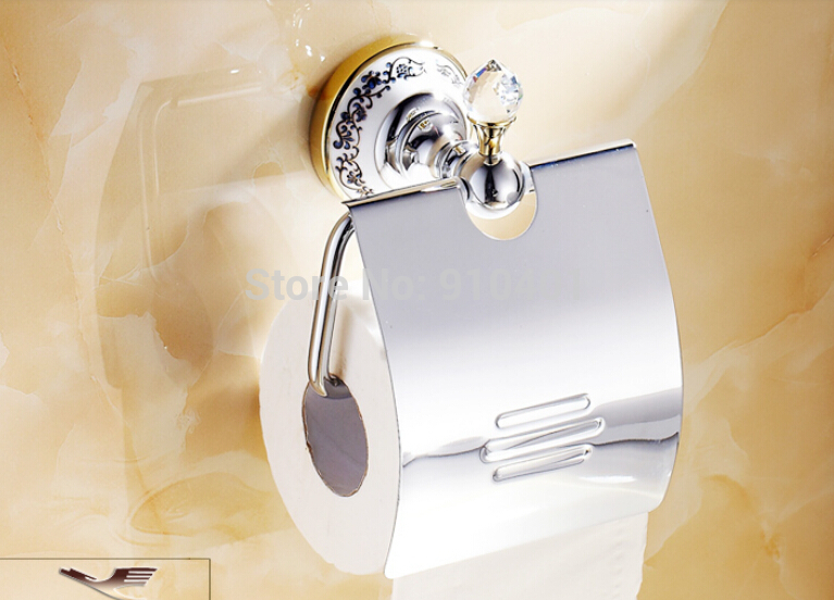 ФОТО Hot Sale Wholesale And Retail Promotion Crystal Ceramic Chrome Brass Wall Mounted Toilet Paper Holder Tissue Roll Holder