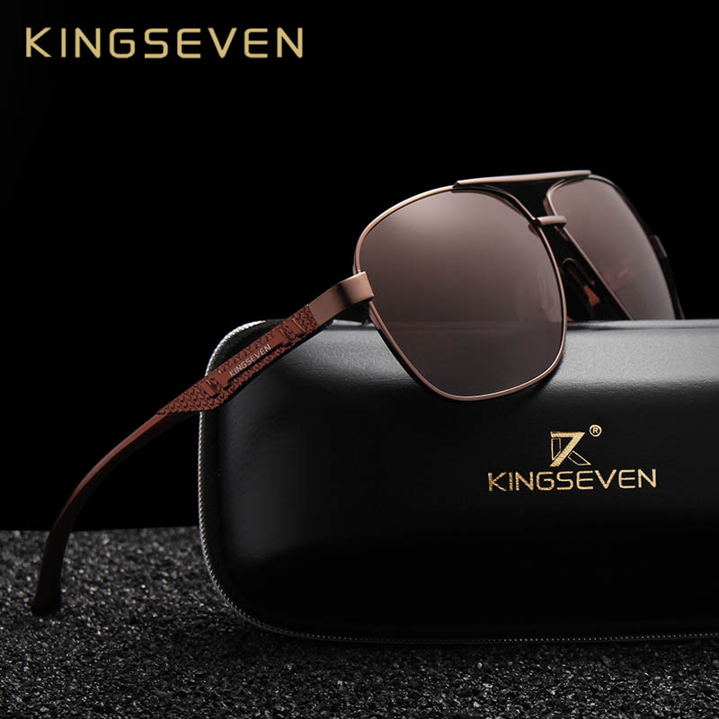 KINGSEVEN 2019 Marke Männer Aluminium Sonnenbrille HD Polarisierte UV400 Spiegel Männlichen Sonnenbrille Frauen Für Männer Oculos de sol