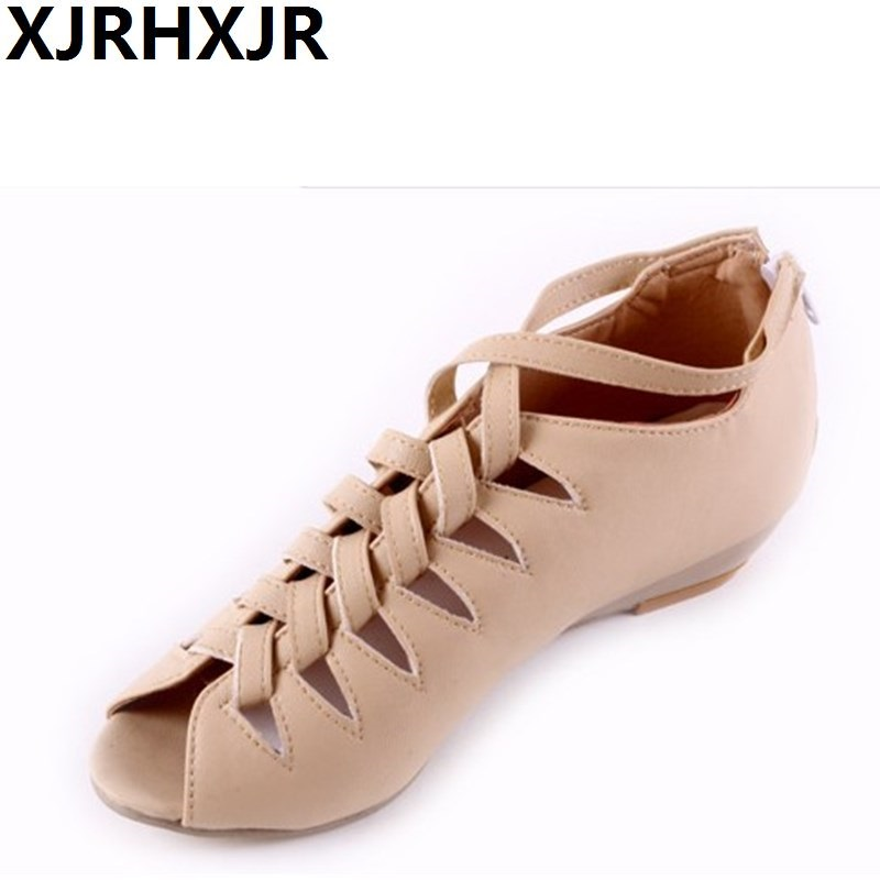 XJRHXJR Gladiator Shoes 2018 Women Shoes Platform Wedges Heel Sandals Rome Ladies Wedge Heels Zip Black White Large Size 32-43 nayiduyun shoes women cow suede strappy sandals roman gladiator sandals platform wedges creepers party casual shoes summer size