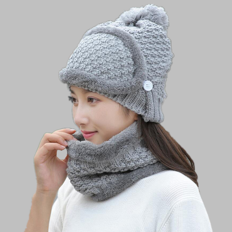 2017 New Fashion women 3pcs Winter Mask Balaclava Gorros Knitting Hats For Girls Skullies And Beanie Collar  warm Set Feminino 2016 new fashion letter gorros hats bonnets