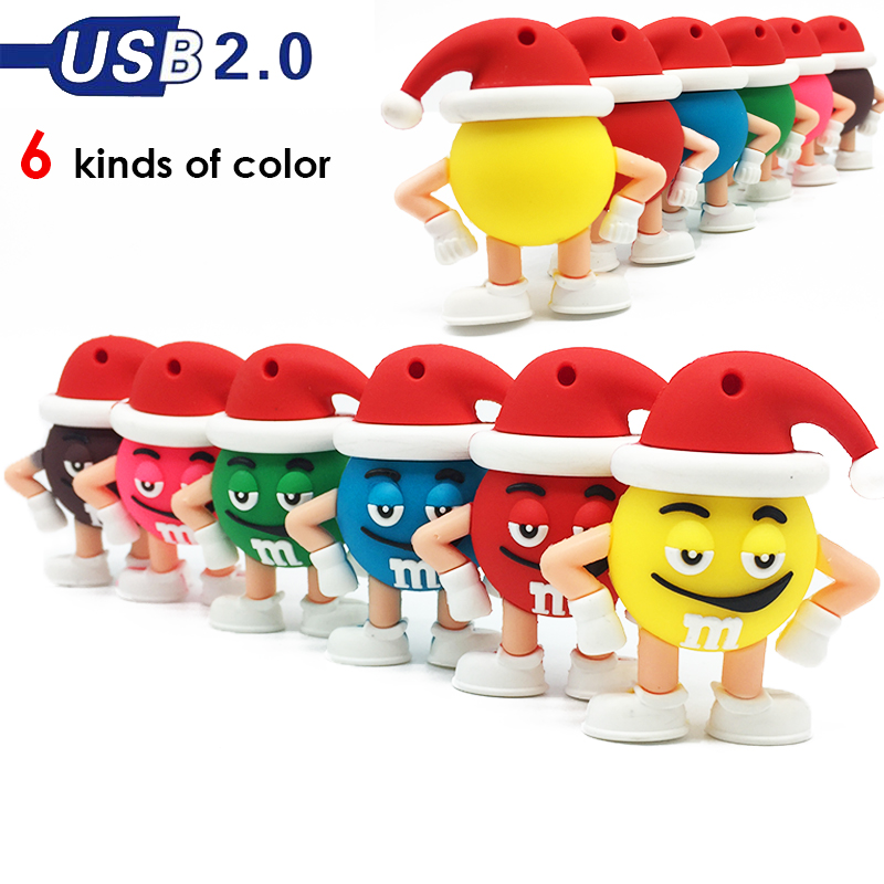 usb flash drive personalizado logo pendrive 16 gb 3.0 designs usb 2.0 32gb flash drive Cartoon Christmas M&m's Chocolate MR Bean худи tam worth