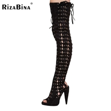 RizaBina women high heel sandals over knee heels shoes peep toe sexy Lady Fretwork Gladiator shoes woman Mujer size 35-46 B227