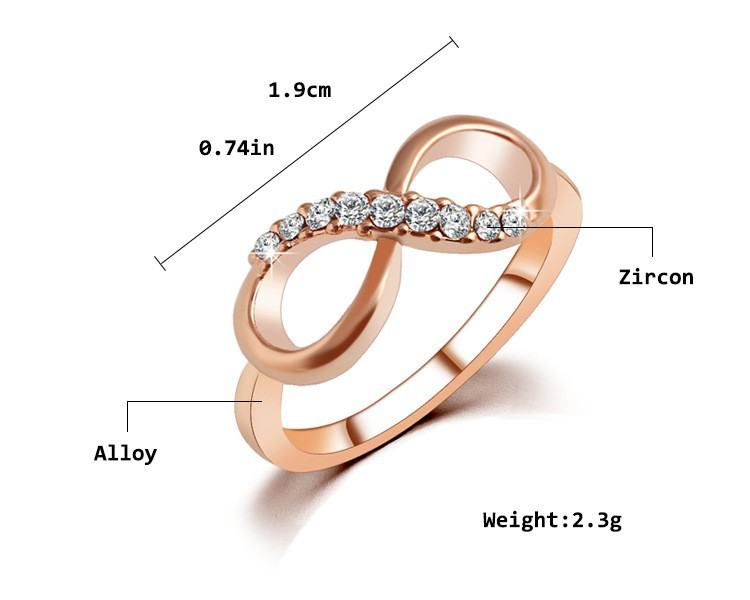 Rose Gold Plated Zircon Crystal Infinity Ring