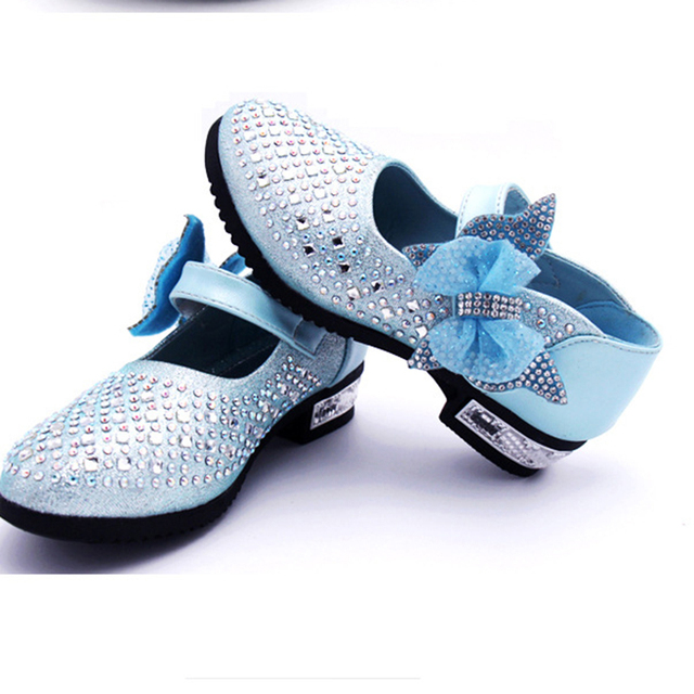 New Children's Little Girl High Heel Rhinestone Princess Party Dance Leather Shoes For Girls Kids School Wedding Dress Shoes 3