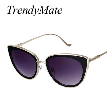 TrendyMate Retro Sexy Cat Eye Women Sunglasses Female Metal Frame Sunglasses Brand Designer Alloy Legs Glasses Oculos De Sol 711 3