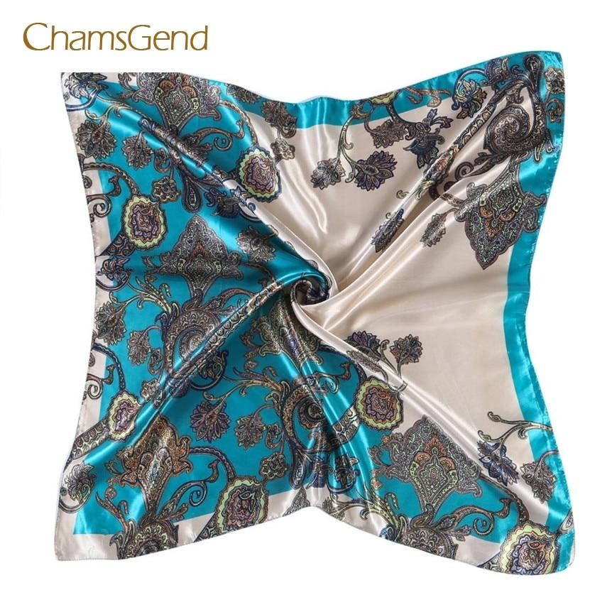 CHAMSGEND 2017,Women Lady Printed Square Scarf Head Wrap Kerchief Neck Satin Shawl May04