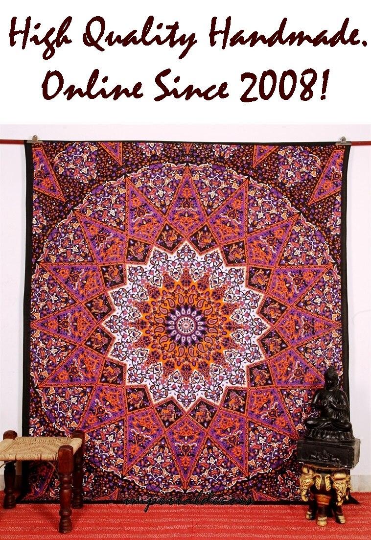 Indian tapestry star mandala kaleidoscopic bohemian for Fomic sheet wall hanging