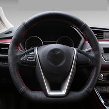 High Quality cowhide Top Layer Leather handmade Sewing Steering wheel covers protect For Nissan LANNIA