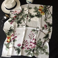 Autumn Floral & Fruits Print 100% Silk Scarf Women Head Scarves Hijab Foulard 90*90cm Hand Rolled Edges