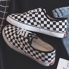 Canvas Shoes for Girls Fashion Checkered Pattern Women