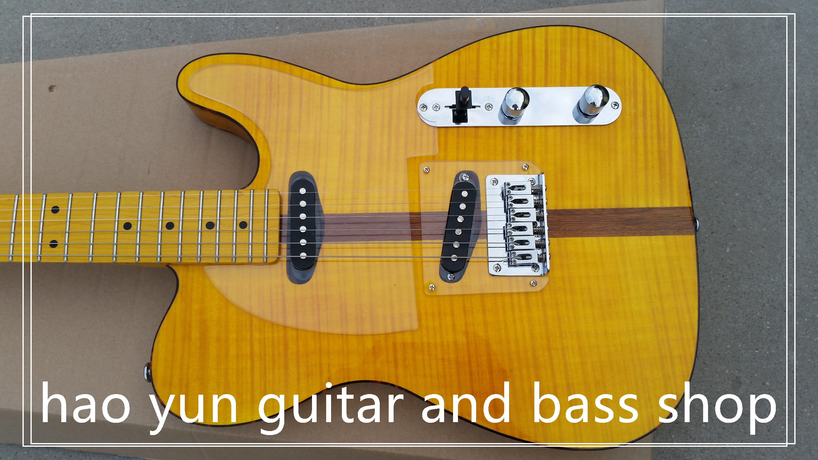 electric guitar china custom shop made yellow color maple fingerboard