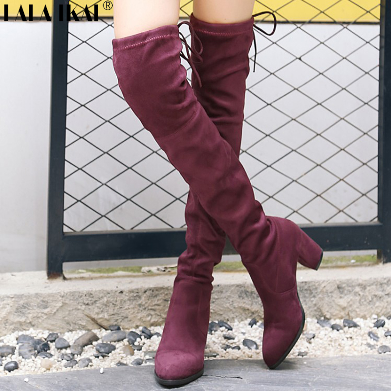 LALA IKAI Over The Knee Boots Women High Heels Winter Boots Femininas Knee High Boots Lace-Up Square Heel Long Boots XWC2283-5 2017 winter women riding boots high heel fold over design near the ankle with lace detailing at side over the knee boots