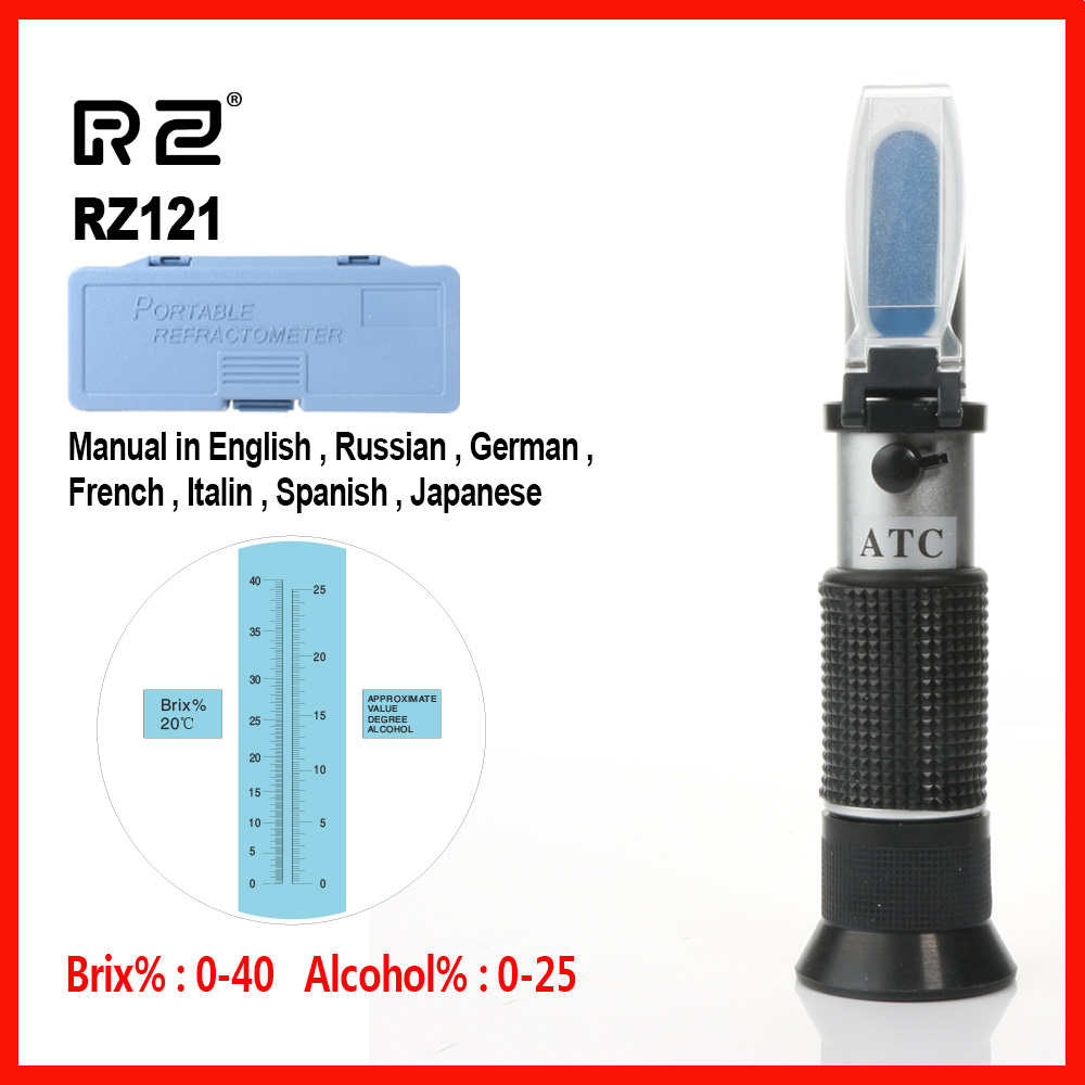 RZ Alcohol Refractometer Sugar Grape Wine Concentration 0~25% Alcohol 0~40% Brix Tester Meter ATC Handheld tool RZ121 цена
