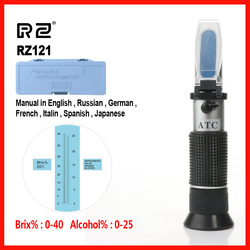 RZ Alcohol Refractometer Sugar Grape Wine Concentration 0~25% Alcohol 0~40% Brix Tester Meter ATC Handheld tool  RZ121