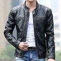 Новые мужские Тонкий Короткие Кожаные Куртки Мужчины Стоят Воротник Пальто Мужчины Мотоцикл Кожаной Куртке Твердые Повседневная
