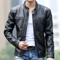 New Men's Slim Short Leather Jackets Men Stand Collar Coats Male Motorcycle Leather Jacket Solid Casual