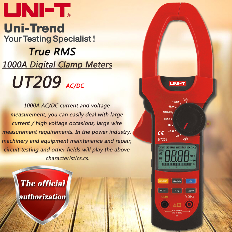 UNI T UT209 AC DC 1000A Digital Clamp Meter True RMS ammeter Resistance/Frequency/Diode Test Analogue Bar Graph