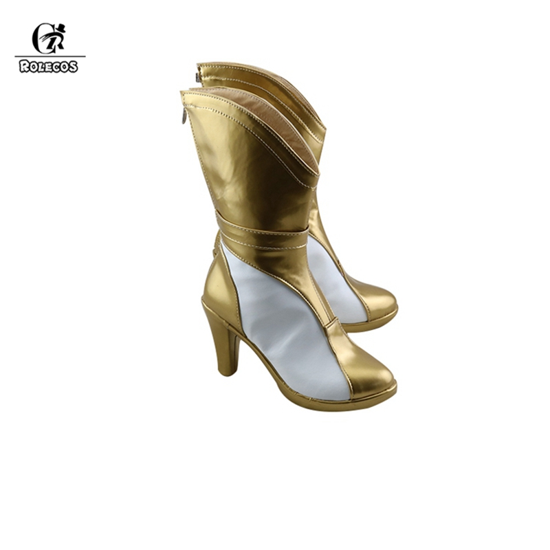 ROLECOS Prestige Edition Ahri Cosplay Shoes KDA Ahri LOL Cosplay Boots Game Golden High-Heeled Shoes for Women Boots 10CM