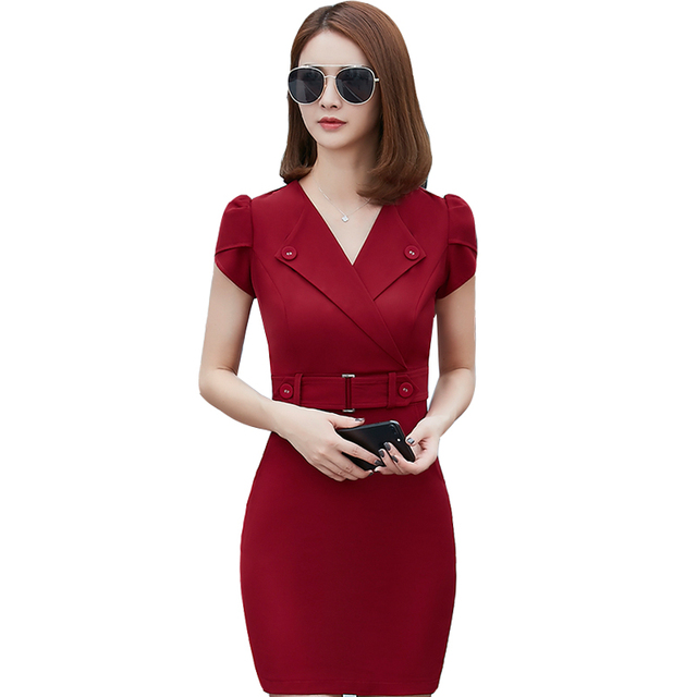 Summer Office Dress Women Elegant Business Work Wear Dress Elegant