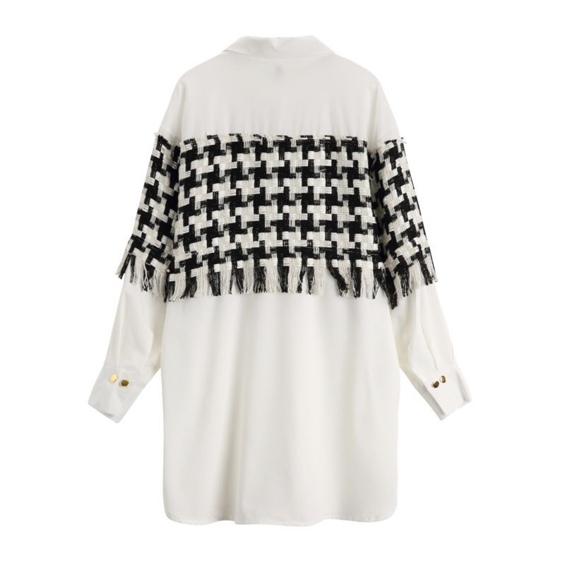 HTB19DjzX16sK1RjSsrbq6xbDXXaj - [EAM] 2019 New SpringWinter Patchwork Tassel Turn-down Collar Full Sleeve Plaid Vintage Shirt Dress Women Fashion Tide OB465