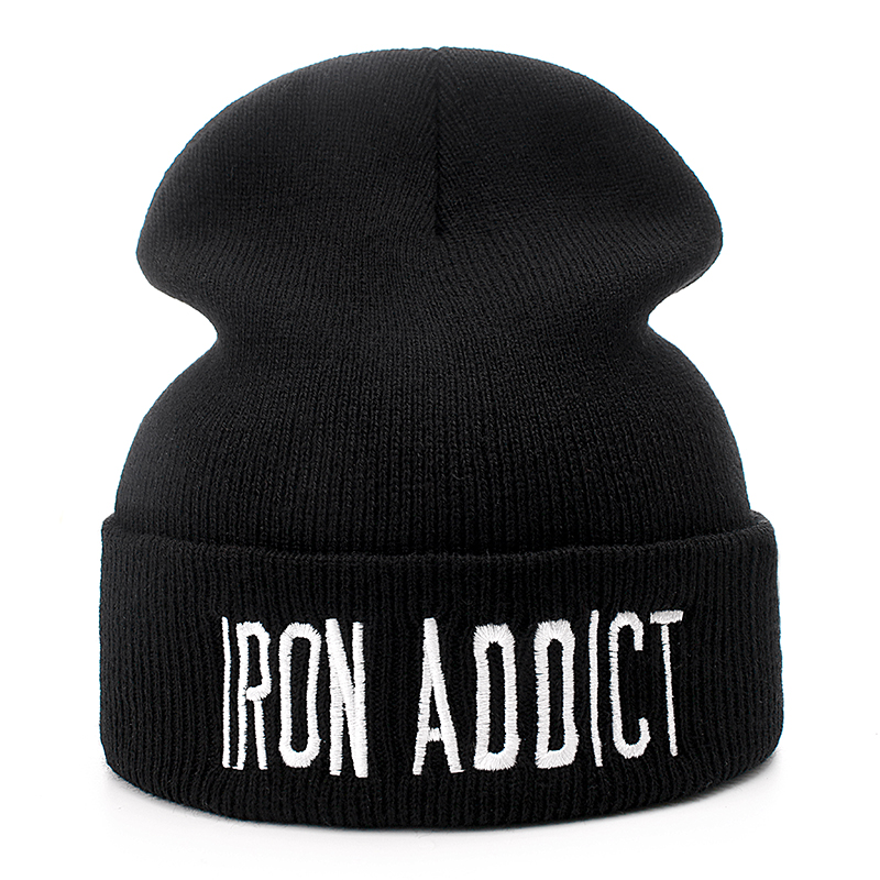 Brand Cotton Letter IRON ADDICT Casual   Beanies   For Men Women Fashion Knitted Winter Hat Hip-hop   Skullies   Warm Hat