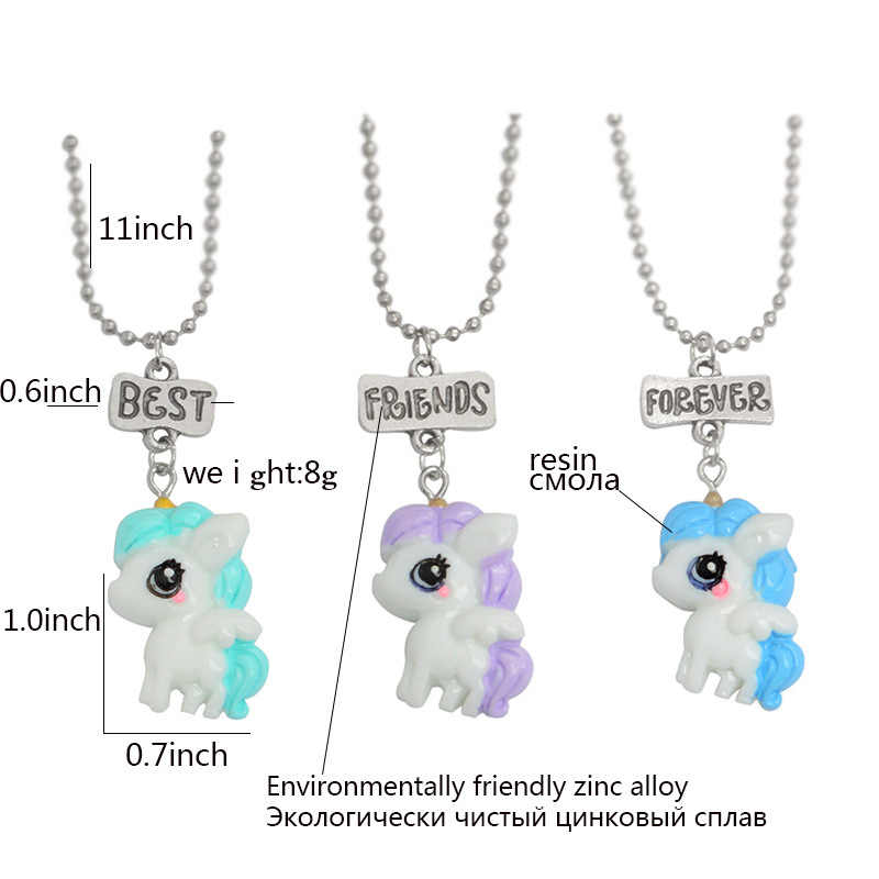 MINGQI 3pcs/set Unicorns BEST FRIENDS FOREVER Pendant Necklaces Keychains BFF Friendship Cartoon animal jewelry gifts for girls
