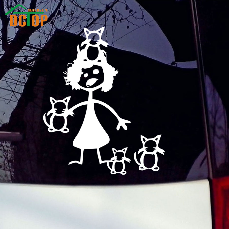 Car sticker design family - Crazy Cat Lady Funny Cats Family Vinyl Car Stickers Creative Cartoon Auto Decals Window Decorative Car