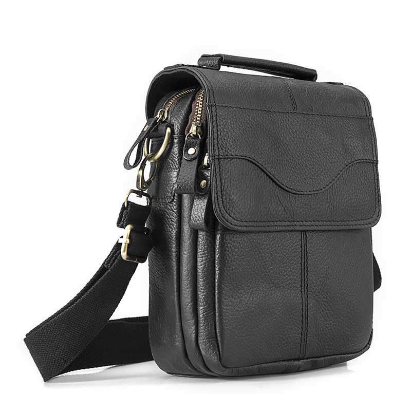 "Quality Leather Male Casual Design Shoulder Messenger bag Cowhide Fashion Cross-body Bag 8"" Tablet Tote Mochila Satchel bag 144b"