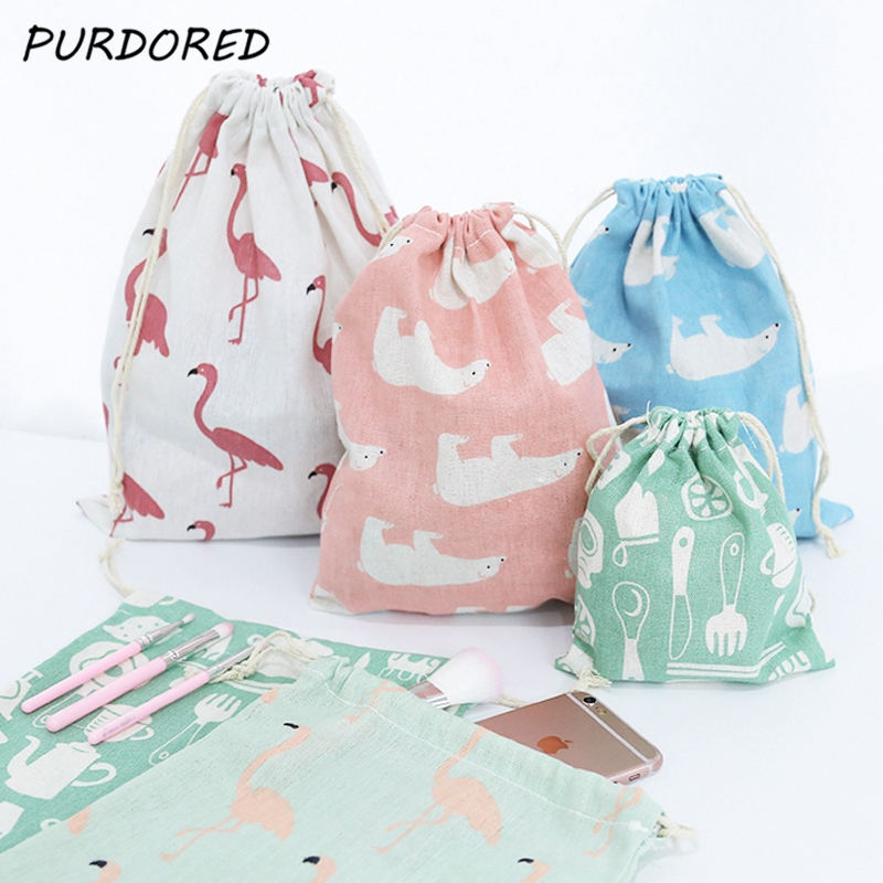PURDORED 3 Pcs/set Drawstring Bag Flamingo Printing Travel Pouch Shoes Storage Clothes Women Cosmetics Wash Bag Dropshipping