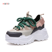 HQFZO Pantshoes Height Heels 7cm Lycral  Womens Platform Chunky Sneakers Outdoor Lightweight Breathable Casual Female Shoes