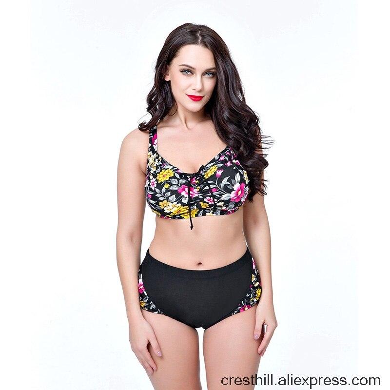 все цены на Plus Size Sexy Bikinis Women Swimsuit 2017 New Swimwear Female Summer Beach Wear  Plus Brazilian Bikini 6xl 7xl 8xl High Waist онлайн