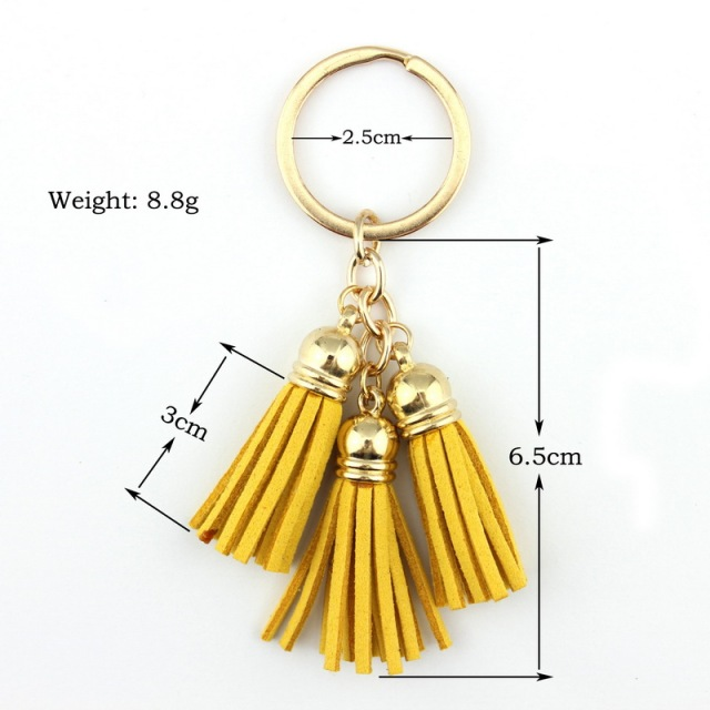2017 New Fashion Women Casual Triple Leather Tassels Keychain