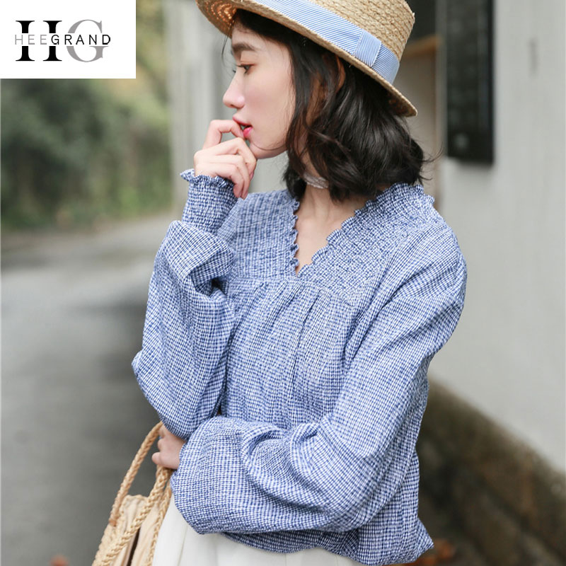 Women's Clothing Hard-Working Hee Grand 2018 Summer Plaid Blouses Women Sexy V-neck Puff Long Sleeve Shirts Spring Pink Blue Loose Fashion Women Blusa Wcl1618 Exquisite Traditional Embroidery Art