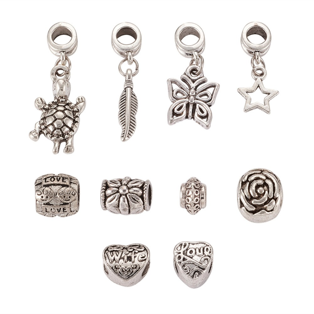 10pcs Antique Silver Alloy European Dangle Charms Beads for Jewelry Making Large Hole Spacer Beads DIY Women Bracelet components