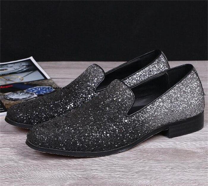 De Paillettes Britannique À Hommes Marée Style argent Noir on Mode Toutes Casual Chaussures Sélections Les Nouveau Noir Pointu Bout Slip Ad0d8