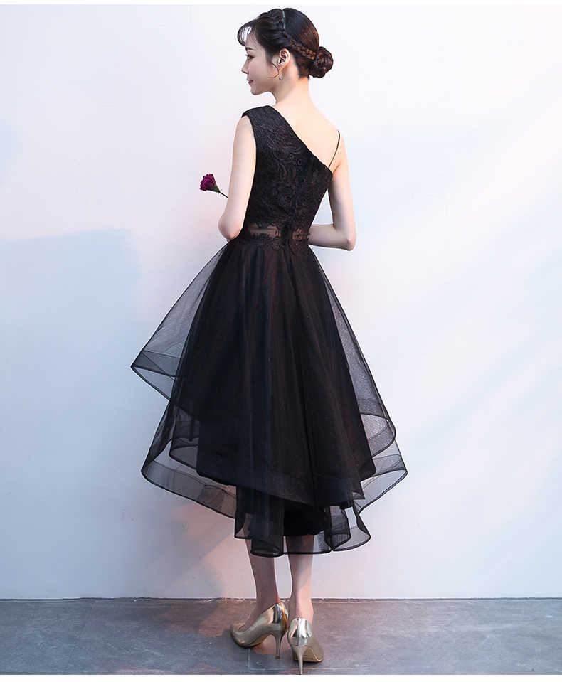 4e4a27fe3e748 New High Low Black Evening Dress One shoulder Lace Cute Simple Fashionable  Short Front Long Back Graduation Prom Dresses Gown